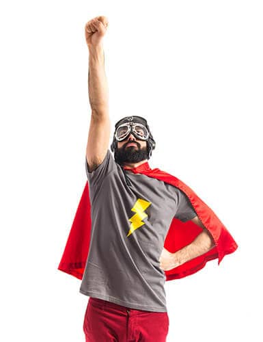superhero hipster hands up